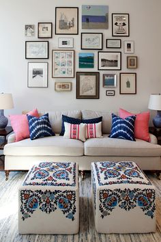 Twin ottomans in front of sofa - Renovated apartment in a converted public school | nastasivaildesign.com