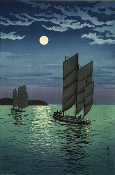 Boats at Shinagawa [Tokyo Bay], by Tsuchiya Koitsu, 1935 -- See also at: http://www.castlefinearts.com/search_results_detail.php?searchByArtist=searchArchives=113pageno=26pn=3rpp=9