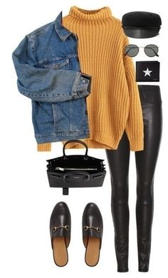 Yellow turtleneck with black leggings mule shoes and a denim jacket. Visit Daily Dress Me at dailyd Casual Outfits black daily dailyd Denim Dress Jacket leggings mule shoes turtleneck visit Yellow Winter Outfits For Teen Girls, Fall Winter Outfits, Autumn Winter Fashion, Casual Winter, Holiday Outfits, Winter Wear, Casual Summer, Winter Ootd, Fall Outfits 2018