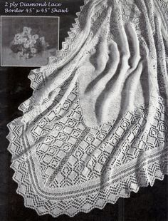Baby Heirloom 2 ply Diamond Lace Border by avintagescot on Etsy
