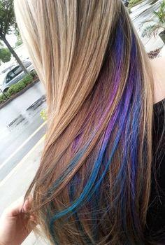 35 Gorgeous Peekaboo Highlights To Enhance Your Hair - Part 7 Cabello Peekaboo, Hair Color Blue, Hair Colours, Pastel Hair, Mermaid Hair, 100 Human Hair, Human Hair Extensions, Dyed Hair, Cool Hairstyles