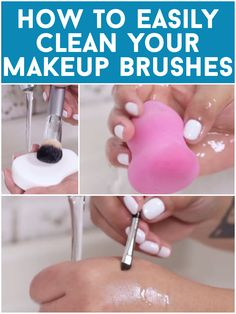 How to clean your makeup brushes. Water, soap, baby shampoo, and olive oil are your best friends.