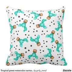 Tropical green watercolor cactus dots pattern throw pillow