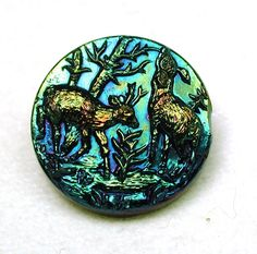 Antique Black Glass Button w Carnival Luster 2 Deer in Forest Pictorial 1880-95 | eBay