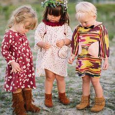 Tiny fashionistas in their @Tamara Tucker for @Lauren Moffatt dresses and @Minnetonka Moccasin booties. // photo by @taryn_kent // #littlegem #onggtoday #laurenmoffatt