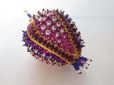 Vintage Royal Purple Beaded Christmas Ornament With Braided Trim Sequins Pearls Victorian Inspired