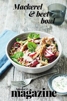 This hearty no-cook meal for two is the perfect speedy midweek meal. To make it veggie, omit the mackerel and add some chopped cucumber, baby tomatoes and a little crumbled feta cheese Fish Recipes, Salad Recipes, Drink Recipes, Beetroot And Feta Salad, Mackerel Recipes, Low Fat Yogurt, Midweek Meals, Cooking Recipes, Healthy Recipes