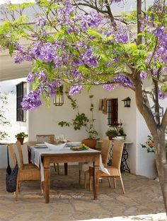 I want a patio in my home one day with a tree like this one over a pergola.but want cobblestone floor and terra-cotta rooftop.morning coffee under a tree like that every day.oh my ❥-Mari Marxuach Parrilla