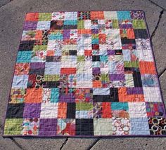 """Moda Bake Shop: Basic Math Quilt (a quilt that uses every single bit of one layer cake)  Finished quilt 54""""x60"""""""
