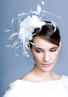 Goose feather flowers with diamonte on wire Alice band  Rachel Trevor-Morgan