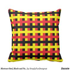 Abstract Red, Black and Yellow Throw Pillow