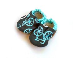 bicycle shoes baby shoes bicycle booties aqua blue and gray bicycle clothing baby bicycle shoes soft sole shoes crib shoes bicycle via Etsy
