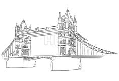 London Tower Bridge Outline Sketched