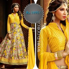 All About The Color #YELLOW. Shades of #Golden #yellow carry the promise of a positive future. Yellow will advance from surrounding colors and instill optimism and energy, as well as spark creative thoughts.  Exclusive #Lehenga Suit Material. #Shop #Online @