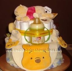 winnie the pooh diaper cake. This site has lots of ideas.