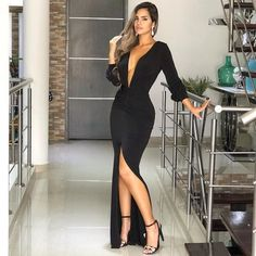 Black Deep V-neck Sexy Evening Dress With Slit Prom Dress , Long Sleeves Prom Dress, Shop plus-sized prom dresses for curvy figures and plus-size party dresses. Ball gowns for prom in plus sizes and short plus-sized prom dresses for Prom Dresses Long With Sleeves, Formal Dresses, Dress Long, Elegant Dresses, Pretty Dresses, Sexy Dresses, Casual Dresses, Midi Dresses, Long Dresses