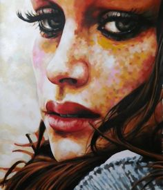 Close up freckels by Thomas Saliot. Oil on canvas.