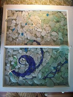 I used almost exclusively sea glass collected in Jamestown and Newport, RI for this window. For a client from Jamestown. All the coke bot. Sea Glass Crafts, Sea Glass Art, Seashell Crafts, Sea Glass Jewelry, Glass Beach, Beach Crafts, Mosaic Crafts, Mosaic Art, Mosaic Glass