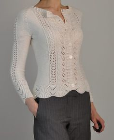 "Knitting pattern for Rambling Rose long sleeved cardigan -   This is barce's one-color version of Laura Zukaite's lace long-sleeved cardigan, originally designed for two colors. 30 (43)"" bust circumference"