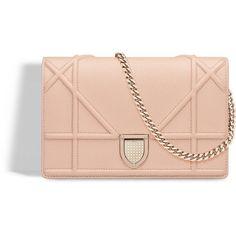 """""""DIORAMA"""" WALLET ON CHAIN POUCH IN NUDE GRAINED CALFSKIN ❤ liked on Polyvore featuring bags, wallets, chain pouch, pink pouch, nude bag, pouch bag and calfskin bag"""