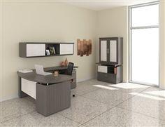 Mayline Sterling Series Textured Driftwood L Desk and Storage Furniture Set