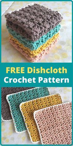 Vintage Crochet Patterns, Easy Crochet Patterns, Crochet Dishcloths Free Patterns, Crochet Dish Towels, Crochet Crafts, Crochet Yarn, Easy Crochet Projects, Crochet Blankets, Crochet Motif