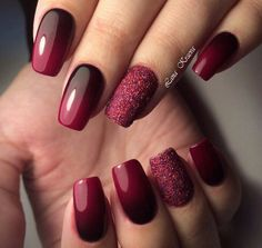 Nails Red Ombre Glitter Nail Art Black