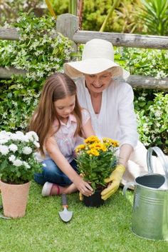 Grandmother and granddaughter planting yellow flowers in the garden: Image credit: wavebreakmediamicro / 123RF Stock Photo