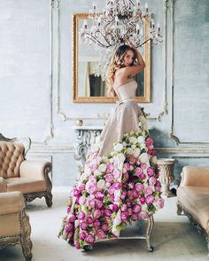 3D florals truly come to life on this #peony-covered gown by @malyarovaolga, as photographed by @chekhlataya.