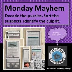 Monday Mayhem : A Secret Code Mystery Brain Teasers For Teens, Brain Teasers With Answers, Relief Teacher, Coding Class, Math Task Cards, Substitute Teacher, Critical Thinking Skills, Brain Games, Math Concepts