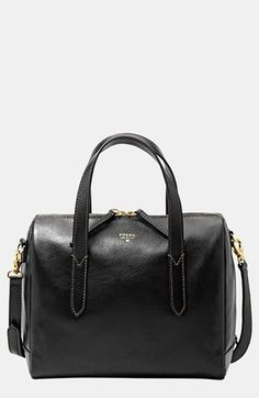 Fossil 'Sydney' Satchel | I've been eyeing this purse for a minute real leather zips all the way down and gold hardware. Need this.