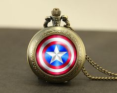 glass Pocket Watch necklace, Shield Necklace, the avengers superhero Locket necklace on Etsy, $9.99