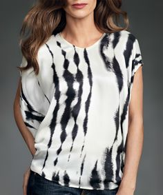 Look at this White & Black Cocoon Silk Top on #zulily today!