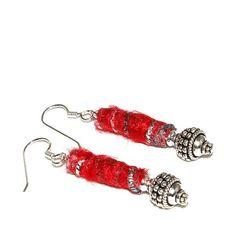 Red Earrings Fiber Jewelry Christmas by AndreasJewelry on Etsy, $27.00