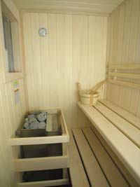 outdoor sauna by pool