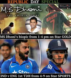 Double Dhamaka on Republic Day of India For more cricket fun click: http://ift.tt/2gY9BIZ #MSDhoniTheUntoldStory #INDvENG STAR Gold Star Sports - http://ift.tt/1ZZ3e4d