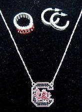 USC University of South Carolina Gamecocks CRYSTAL NECKLACE EARRINGS RING SET