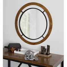 Kate and Laurel Whalen Round Wood Wall Mirror - 32x32 Rustic Wood Walls, Rustic Frames, Foyer Design, Rustic Design, Shabby Chic Farmhouse, Farmhouse Decor, Contemporary Decor, Modern Decor, Shabby Chic Theme