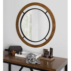 Kate and Laurel Whalen Round Wood Wall Mirror - 32x32 Rustic Wood Walls, Rustic Frames, Foyer Design, Rustic Design, Shabby Chic Farmhouse, Farmhouse Decor, Contemporary Decor, Modern Decor, Shabby Chic Theme