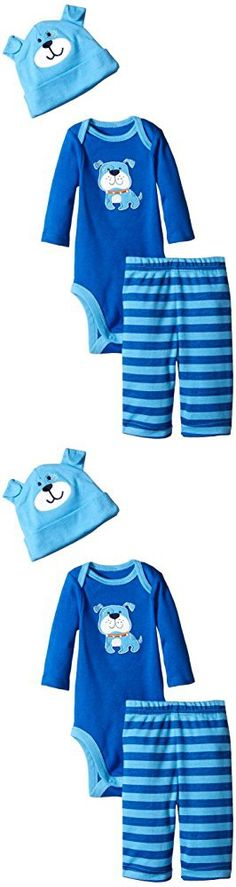 Gerber Baby-Boys Newborn 3 Piece Bodysuit Cap and Pant Set, Blue Dog, 0-3 Months