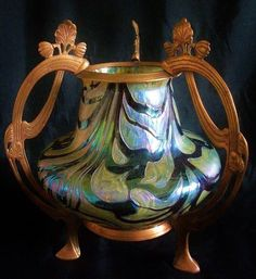 Fabulous Art Glass Vase with iridescent oil spot finish and abstract purple iridized threading. The vase mounted in original bronze stand with flowing stems and flowers typical of the height of the Art Nouveau period. | eBay!