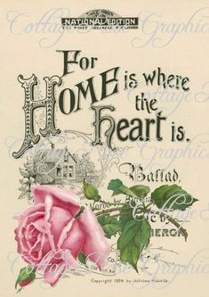 Large digital download Home is where the Heart is Vintage pink roses Sheet music cover  BUY 3 get one FREE