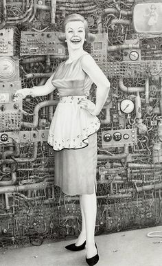 I love Laurie Lipton's Artwork. Most of her work is macabre and so amazingly detailed. Love It! This piece is super cool with all the detail of the pipework in the background.