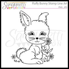 http://www.mygrafico.com/digital-stamps/fluffy-bunny-clipart-digital-stamp-lineart/prod_11596.html#sthash.xY2p7QjH.dpuf  Fluffy Bunny Clipart Digital Stamp Lineart This single line art digital stamp is a little fluffy bunny holding a flower.  It's inspired by vintage design and would look really nice for embroidery.  Use it as a digital stamp for card making and paper crafting too.