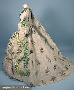 """Does this look like 1750-70 with a hoop slip under it to any one else?  Discription: 2-piece floral printed mint green silk chine, trained Watteau back, trimmed w/ serpentine bands of green satin ribbon (some holes in hem area) w/ underskirt of ivory taffeta decorated w/ green ribbon trimmed tulle flounces, B 34"""", W 26.5"""", Front Gown L56"""", Back L 72"""", (some tulle flounces damaged) good"""