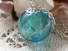 Real Dandelion Necklace Hand Blown Blue Glass by WishesontheWind, £17.00