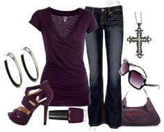 Purple and Denim, this is totally me right down to the cross pendant!