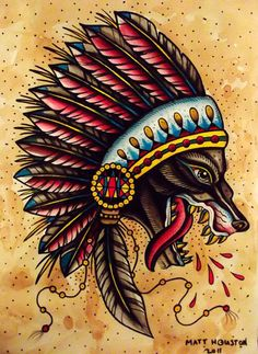 Wolf with headdress