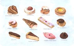 Pastry Fancies Desserts Sweets Menu ORIGINAL Watercolor Painting 5.5 x 8.5 - FREE Shipping. $15.00, via Etsy.