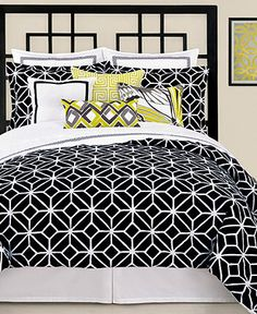 Just bought the comforter and bed shams.  Love this for the master bedroom.  Refinish current furniture to black, paint walls a bright lime green, and accent with a vase of red tulips.
